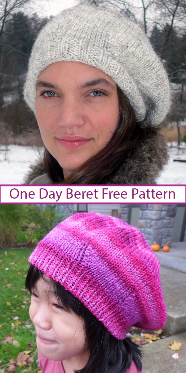 Free knitting pattern for One Day Beret – Instructions for quick hat that is ada…