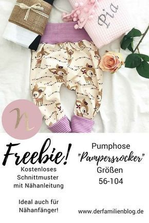 "Freebie ""Pampersrocker"" Kostenloses Schnittmuster Baby Pumphose – DIY Nähanleit…"