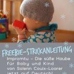 Freebie Strickmuster Impromtu Kapuze für Baby und Kind deutsche Übersetzung
