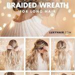 Geflochtene Halo-Frisur: Einfache Hochsteckfrisur für langes Haar Pinterest