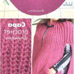 Geschichteter Knopflochumhang mit gestrickter Häkeltasche aus gestricktem Trikot / Weaving Pe...