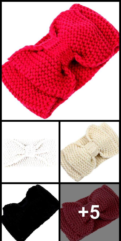 Gestrickte Stirnbänder Winter warme Ohrenwärmer Bogen Stirnband klobig häkeln Turban Kopfpack…
