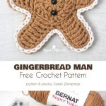 Gingerbread Man Free Crochet Pattern  Gingerbread ornaments looks just like the real thing, they are