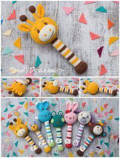 Giraffe rattle Crochet rattle Baby rattle toy by SmallDreamers