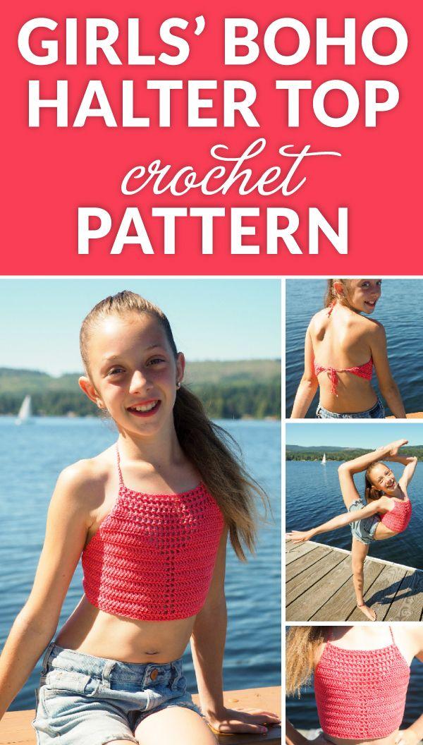 Girls' Boho Halter Top Crochet Pattern