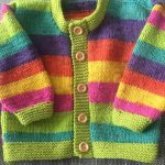 Girls baby/toddler cardigan sweater hand knitted in muted stripes with wooden button detail various sizes available