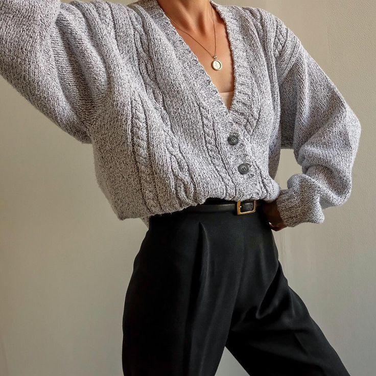 Goodshop Badshop Vintage pebble gray 100% cotton thick knit cropped cardigan