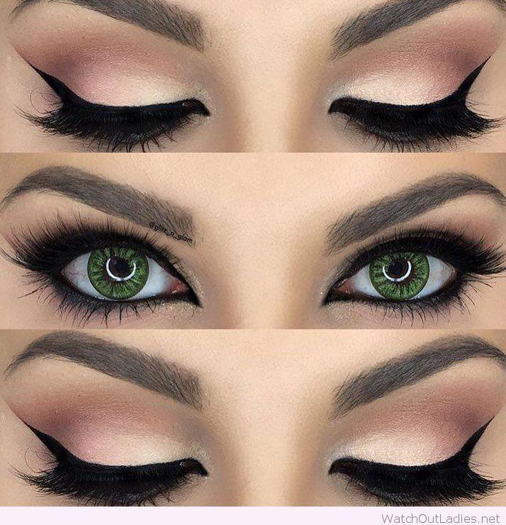 Gorgeous nude and black eye makeup for green eyes – #black #eye #eyes #Gorgeous …
