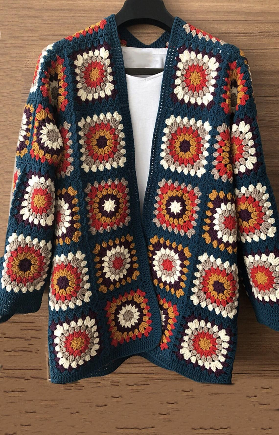 Granny square cardigan, crochet cardigan, jumper,handmade cardigan, colourful cardigan