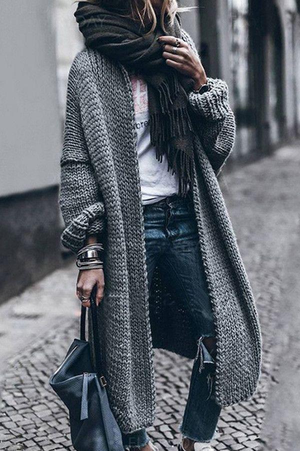 Gray Loose Bat-sleeved Knitwear Cardigan