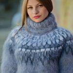 Gray Mohair Sweater, Icelandic Sweater, Hand Knit Sweater, Men Mohair Sweater, Norwegian Sweater, Fluffy Huge Sweater, Nordic Sweater T139