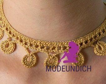 """Häkeln Sie Halskette Muster PDF für """"Goldmünzen"""" häkeln Halskette, Halsband,…"""