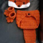 Häkeln neugeborene Baby oder Junge Woodland Fox -Kostüm - Foto Prop - Beanie Hat , Windel-Abdeckung , und Booties . Handmade & Homemade