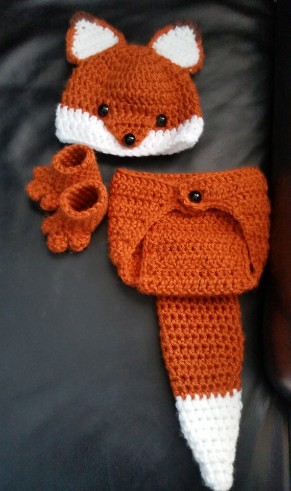 Häkeln neugeborene Baby oder Junge Woodland Fox -Kostüm – Foto Prop – Beanie Hat , Windel-Abdeckung , und Booties . Handmade & Homemade