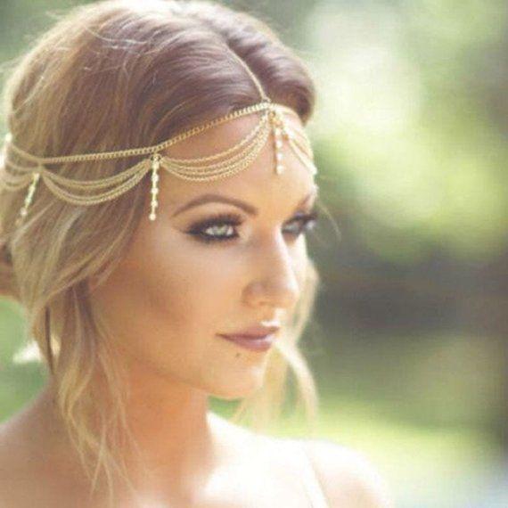 Hair Chain, Boho Headpiece, Bridal hair piece, Wedding head piece, Bridal Head Chain, Festival Accessories, Bohemian Jewelry, Gift for her