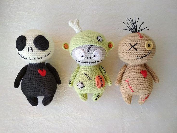 Halloween set Crochet doll Monster doll Zombie figure Goth art doll Halloween gi…