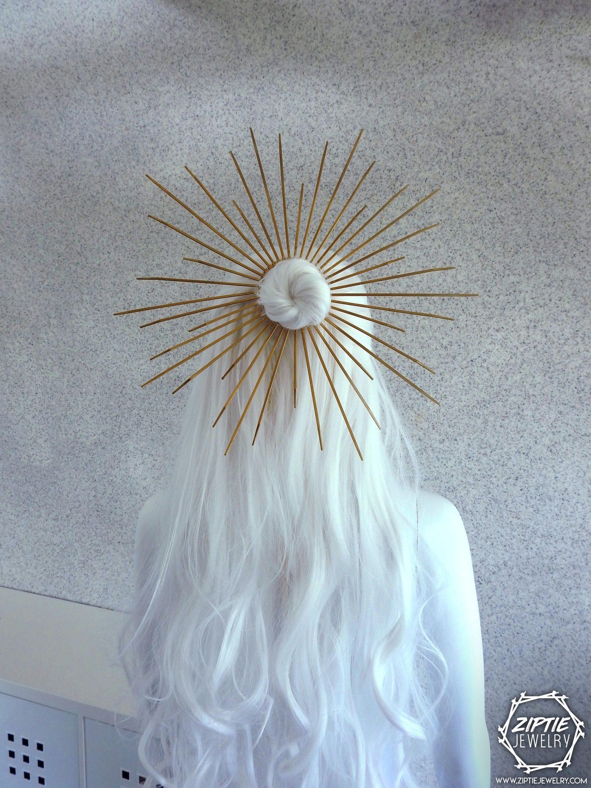Halo Hair Bun Band / Gold Zip Tie Crown / Met Gala Crown / Saint Mary Crown / Zip Tie Headpiece / Silver Zip Tie Headdress