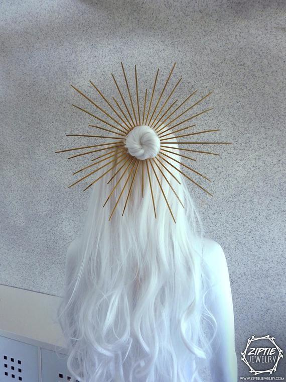 Halo Hair Bun Band/Gold Zip Tie Crown/Met Gala Crown/Saint Mary Crown/Zip Tie Headpiece/Silver Zip Tie Headdress
