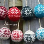 Hand Knit Fair Isle Alpine Flower Design Christmas Ornament