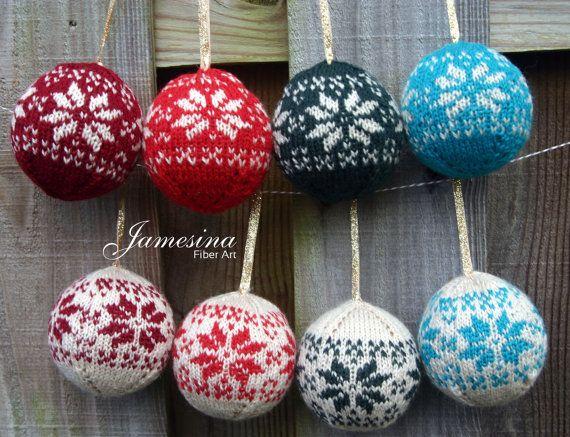 Hand Knit Fair Isle Alpine Flower Design Christmas Ornament
