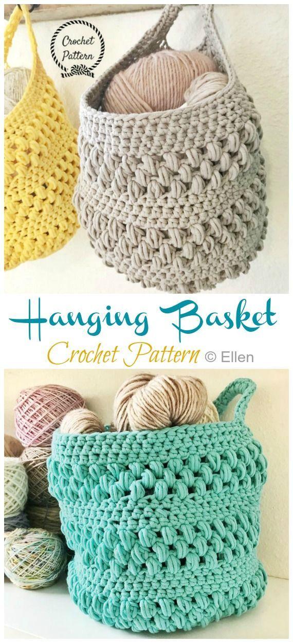 Hanging Sack Basket Crochet Free Pattern