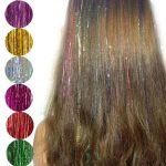 Holographische Glanz Haar Lametta Strands Glitter Extensions Highlight Party Bli...