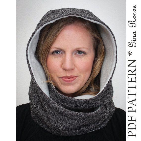 Hooded Scarf Pattern. Hood Scarf Sewing pattern. Infinity Scarf sewing pattern – PDF pattern