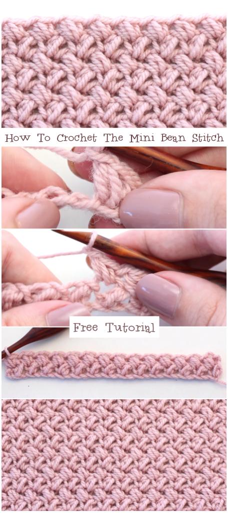 How To Crochet The Mini Bean Stitch Easy Tutorial