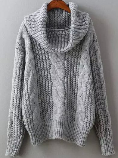I love a chunky knit and a cozy sweater. Grey High Neck Cable Knit Sweater. You …