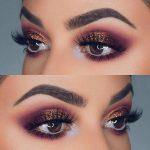 Idée Maquillage 2018 / 2019  : Purple and Bronze Glitter Eye Makeup Idea for Pr...