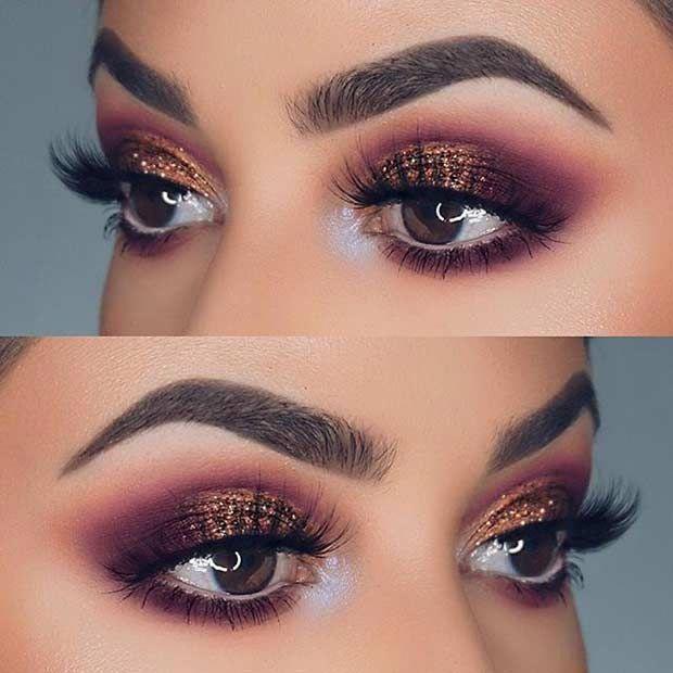 Idée Maquillage 2018 / 2019  : Purple and Bronze Glitter Eye Makeup Idea for Pr…