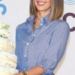 Jessica Alba is pretty as a picture in a shirt and retro skirt