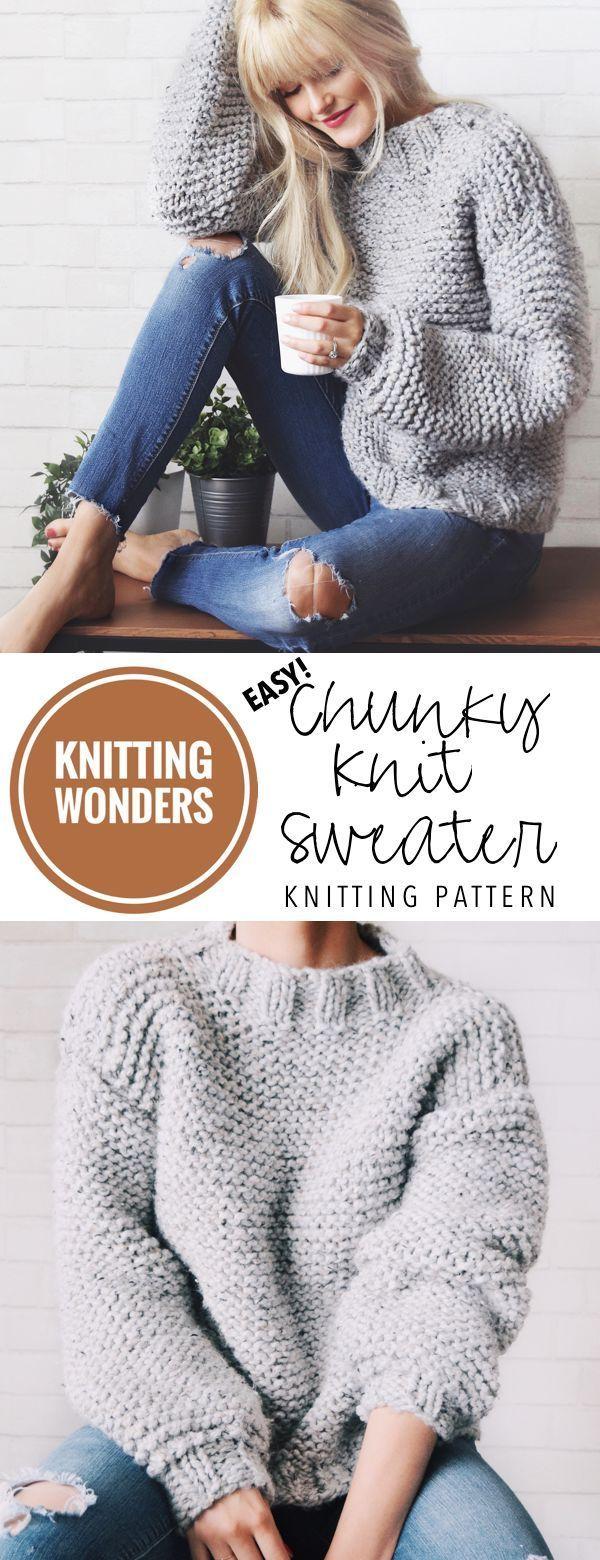 KNITTING PATTERN ⨯ Chunky Knit Sweater Pattern, Bulky Sweater Knitting Pattern ⨯ Easy Jumper Knitting Pattern, Beginner Sweater Knit Pattern