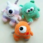 Kawaii Little Monster Plush Toy - Funny Halloween Gift - Crochet Amigurumi Alien