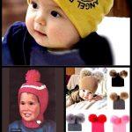 Kinder super Puffball Hut - Vintage Strickmuster - 1960er Jahre Original Strickmütze für Kind...
