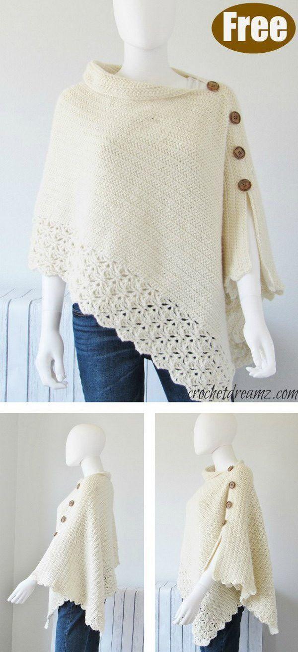 Knit Look Crochet Poncho Free Pattern – Your Crochet – Knitting Bordado
