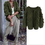 Knit Your Love–Strickjacke in Armeegrün