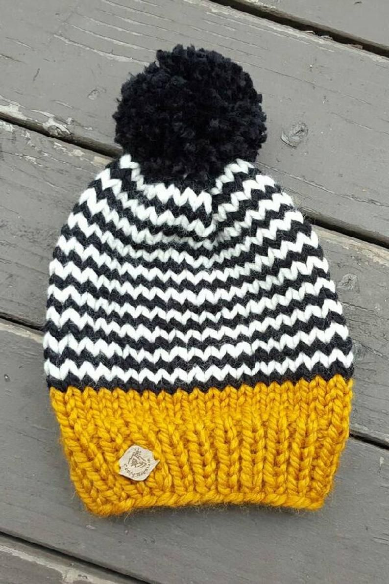 Knit hat with pom pom / knit beanie /knit hat/womens/ mens gift/ unisex winter hat/knit slouchy fair isle stripe beanie / accessory