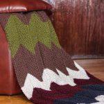 Knitted Chevron Blanket Cozy Handmade Throw Afghan