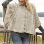 """Knitted DROPS poncho with cables and textured pattern in """"Nepal"""" and """"Kid-Silk""""...."""