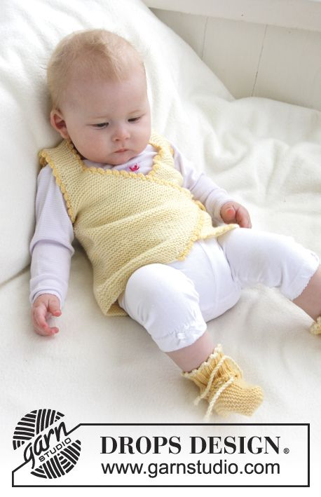 """Knitted DROPS vest and booties in garter st with crochet borders in """"Baby Meri…"""