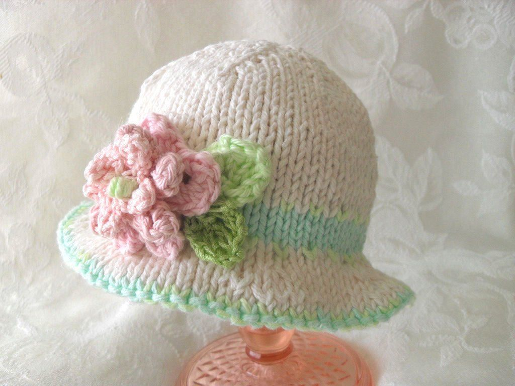 Knitted Flower Baby Bonnet Brimmed Knit Baby Hat Knitted Brimmed Hat Knitted Flower hat baby shower knitted baby gift gift for new mom