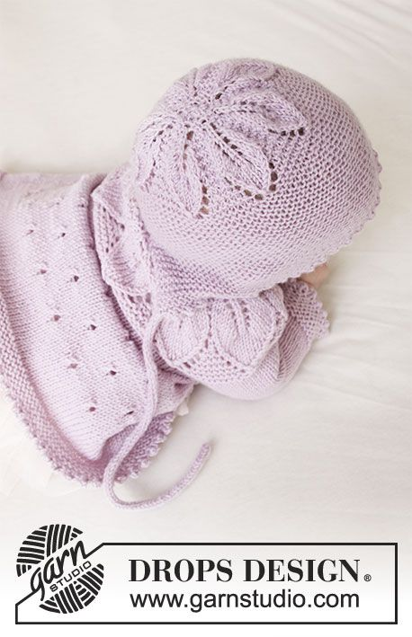 Knitted bonnet for babies with leaf pattern and garter stitch in DROPS Baby Meri…