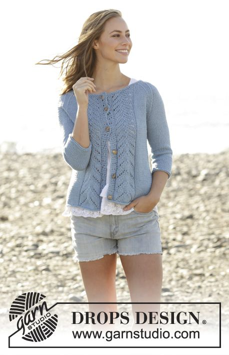 Knitted jacket with lace pattern and raglan in DROPS Paris. Sizes S – XXXL. Free…