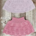 Knitted skirt with wave pattern, flounces and rib in DROPS Kid-Silk and DROPS Al...