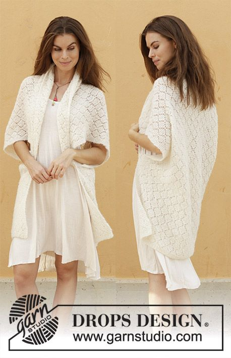 Knitted vest with lace pattern. Sizes S – XXXL. The piece is worked in DROPS Bru…