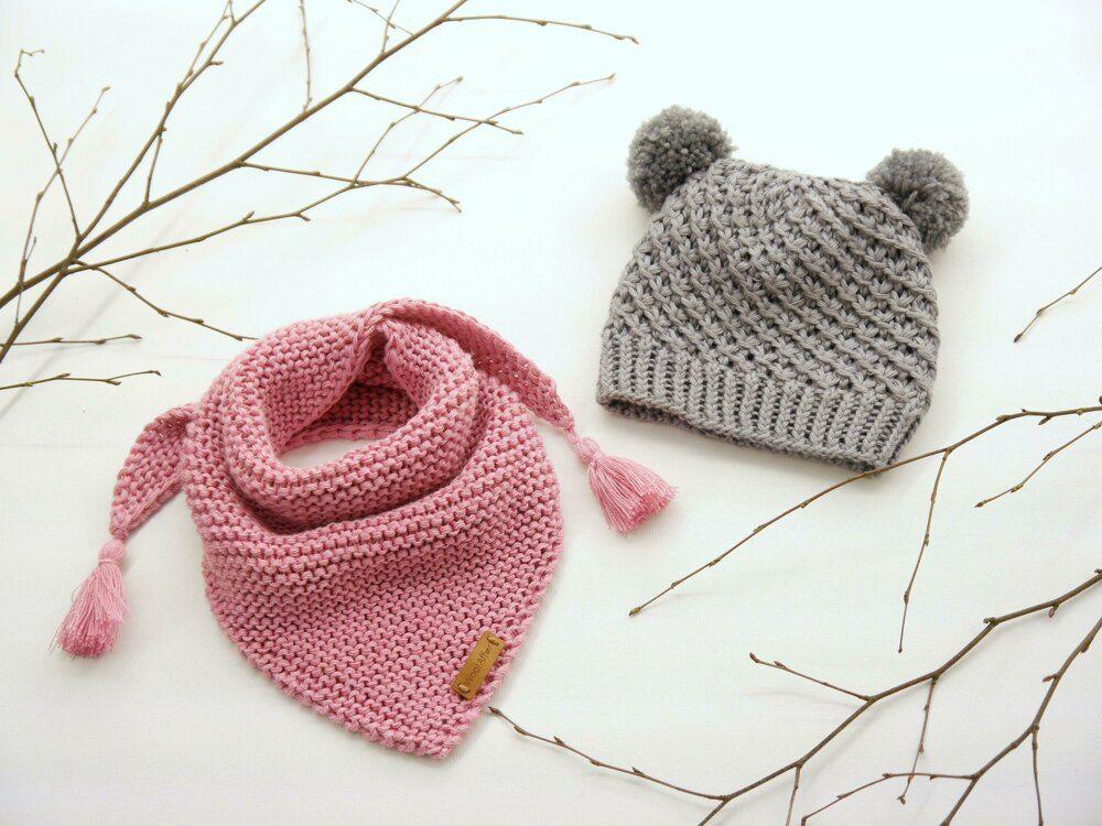"Knitting Pattern –Baby Cap ""Little Star"" & Triangular Scarf – No.192E Knitting pattern by WoolAffair"