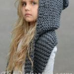 Knitting Pattern for Adult and Child Sized Hooded Scarf - The Tuft Hooded Scarf ...