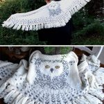 Knitting Pattern for Hedwig Owl Shawl - Wrap designed like an owl in flight with...