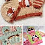 Knitting Patterns for Baby and Child Sweater Sets with Animal Themes - Each set ...